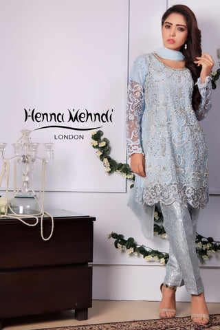 Ice Blue Pearl & Diamante Embroidered Outfit