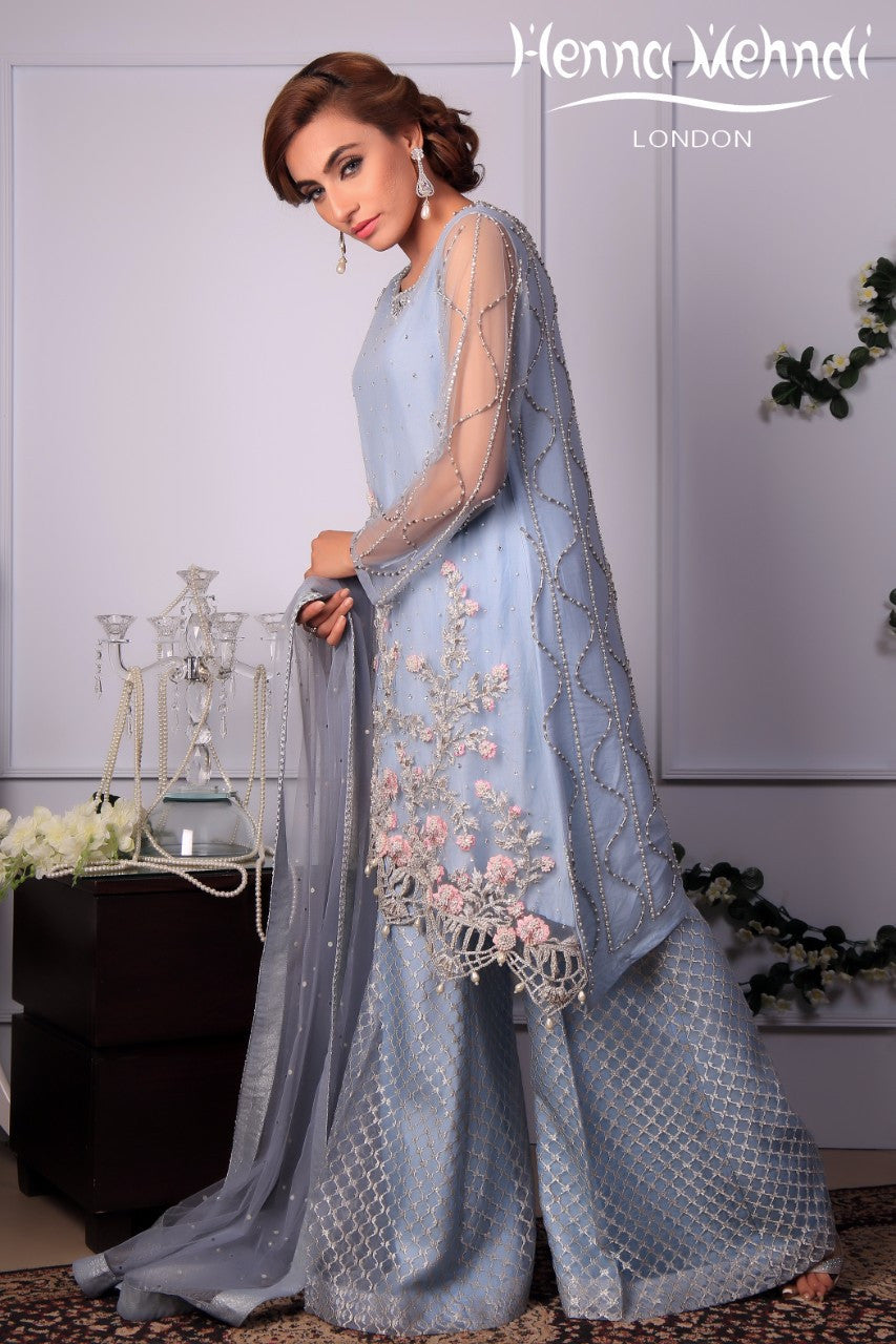 Ice Blue Diamante & Pearl Embroidered Outfit