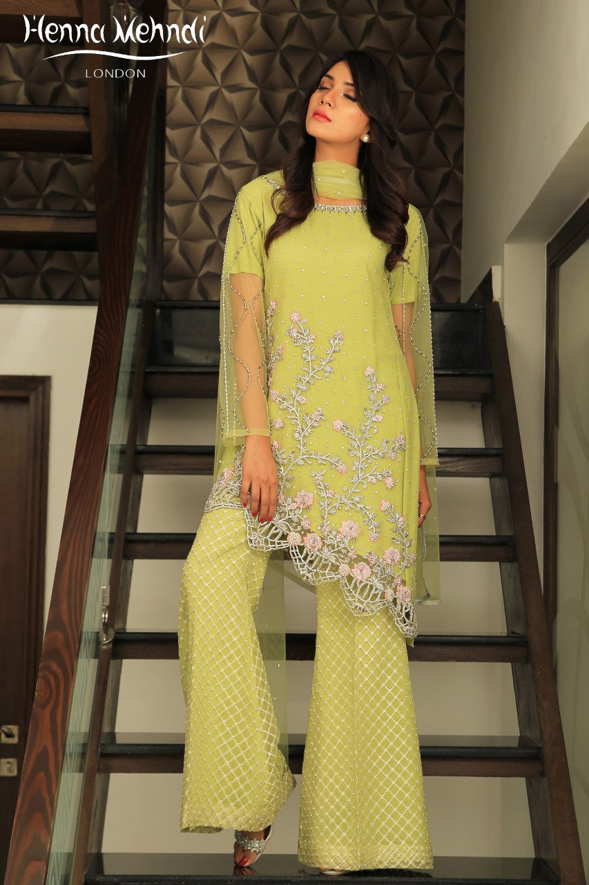 Parrott Green Diamante Embroidered Outfit