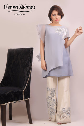 Grey Crystal & Diamante Embroidered Cape & Trouser Outfit