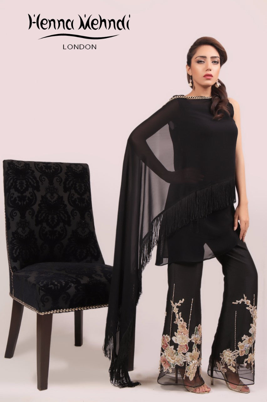 Black Crystal & Diamante Embroidered Cape & Trousers Outfit