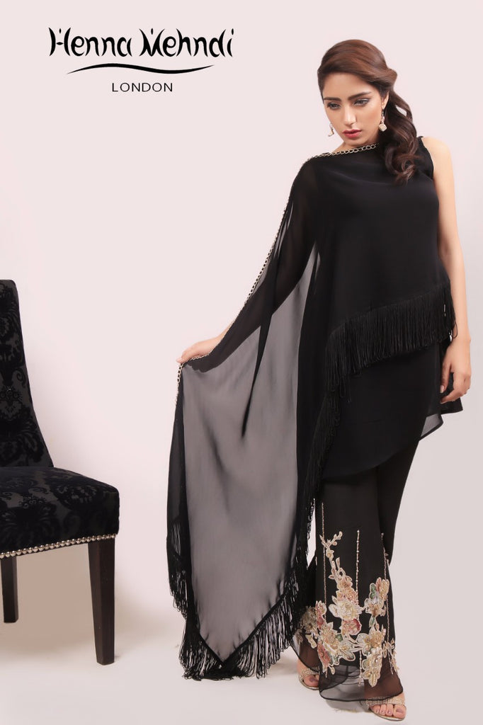 Black Crystal & Diamante Embroidered Cape & Trousers Outfit - Henna Mehndi