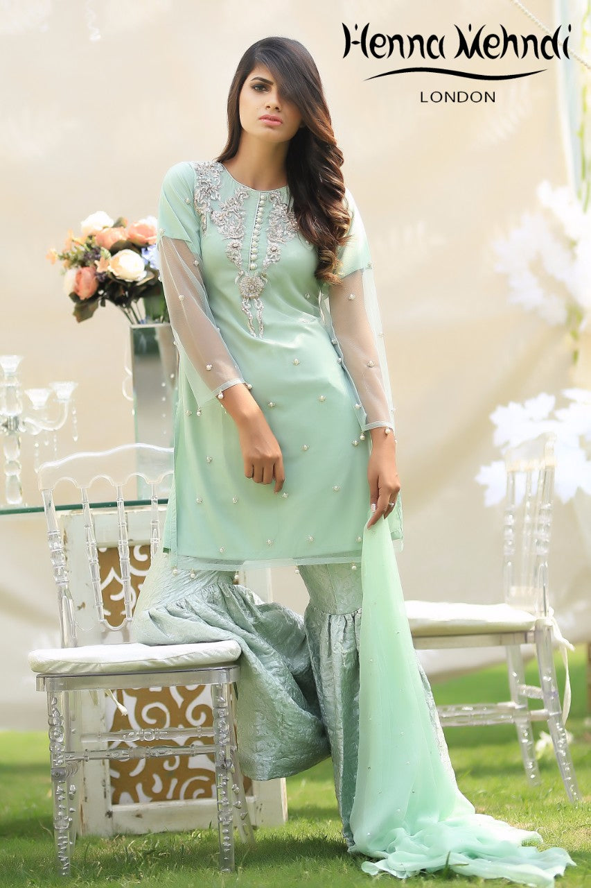 Pistachio Diamante Embroidered Outfit