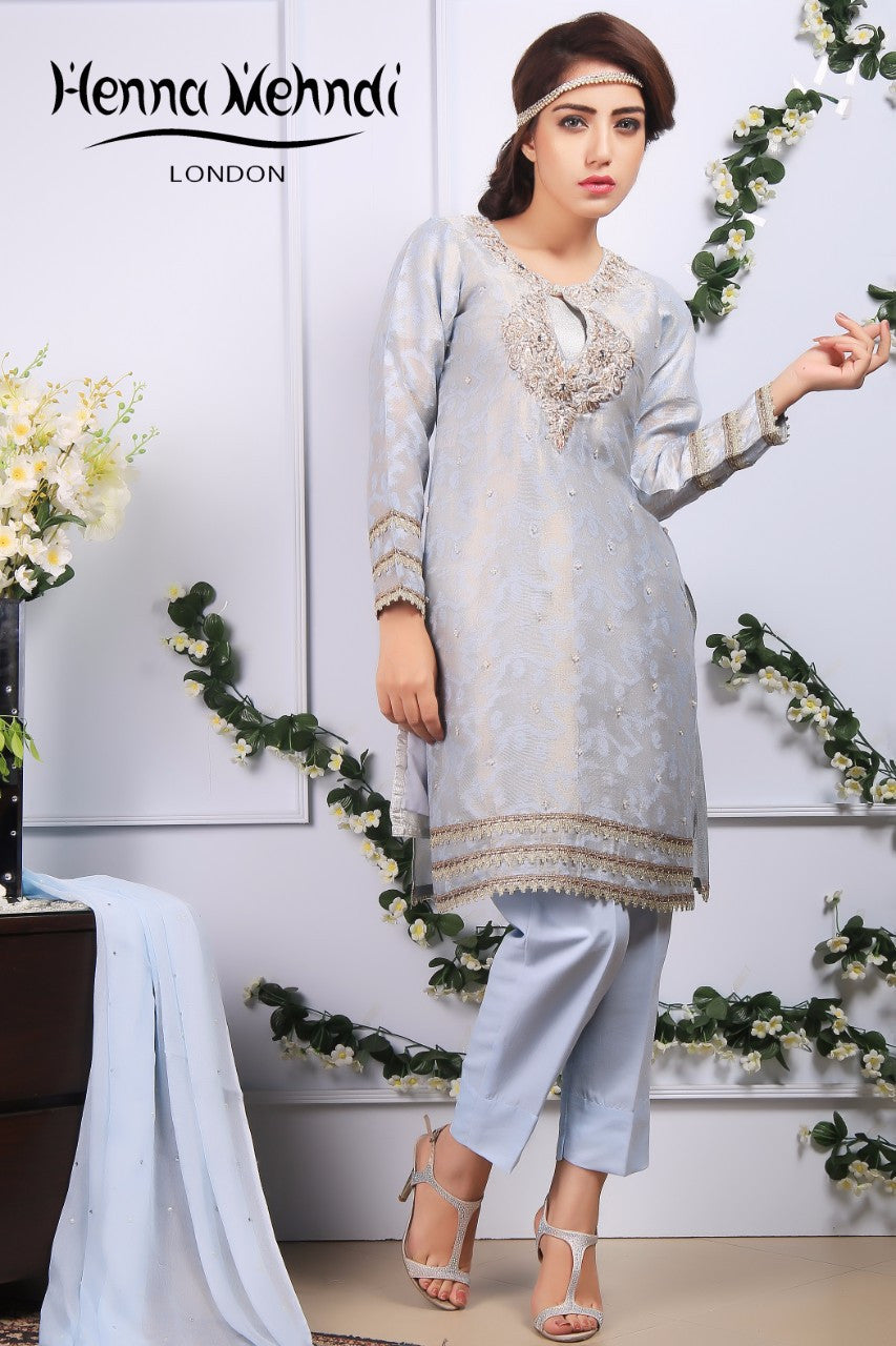 Ice Blue Diamante Embroidered Outfit