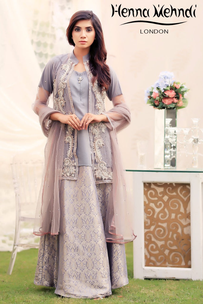 Grey Pearl & Diamante Embroidered Jacket Outfit - Henna Mehndi