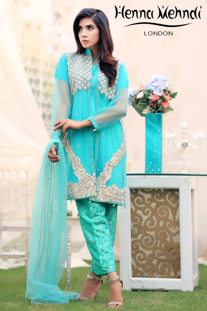 Turquoise Pearl & Diamante Embroidered Jacket Outfit - Henna Mehndi