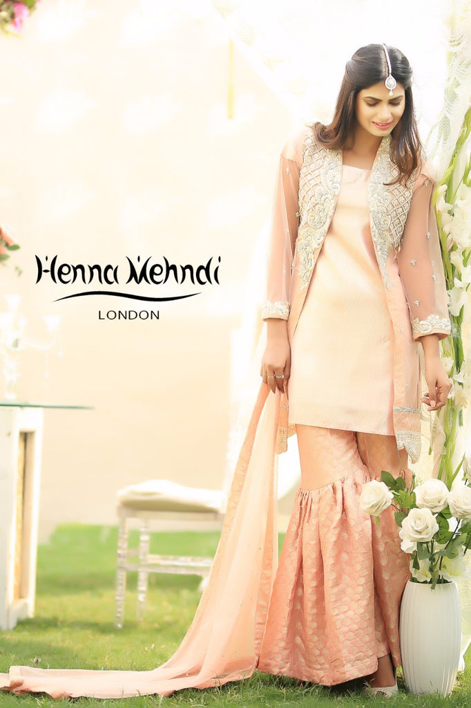 Peach Diamante Embroidered Jacket Outfit - Henna Mehndi