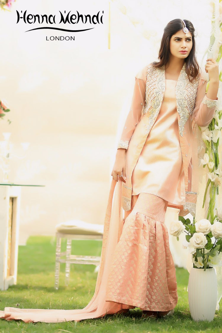 Peach Diamante Embroidered Jacket Outfit