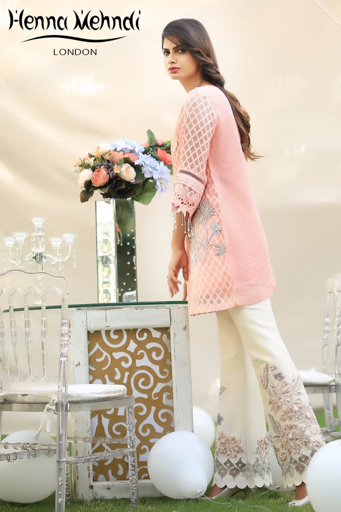 Peach Embroidered Top & Embroidered Trouser Outfit - Henna Mehndi