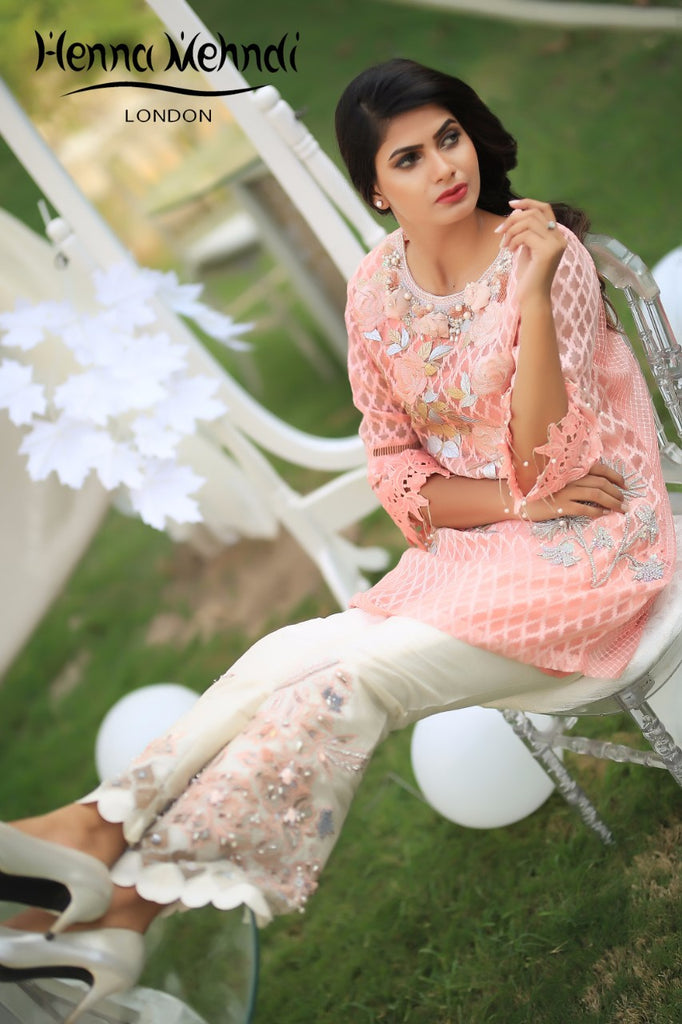 Peach Embroidered Top & Embroidered Trouser Outfit