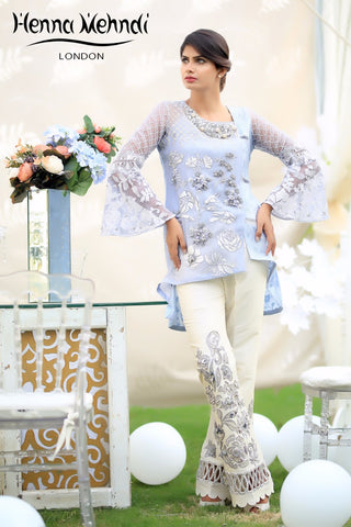 Grey 3D Embroidered Top & Embroidered Trouser Outfit