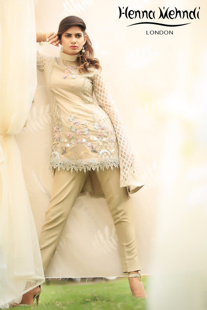 Beige 3D Flower Embroidered & Accessorised Outfit - Henna Mehndi