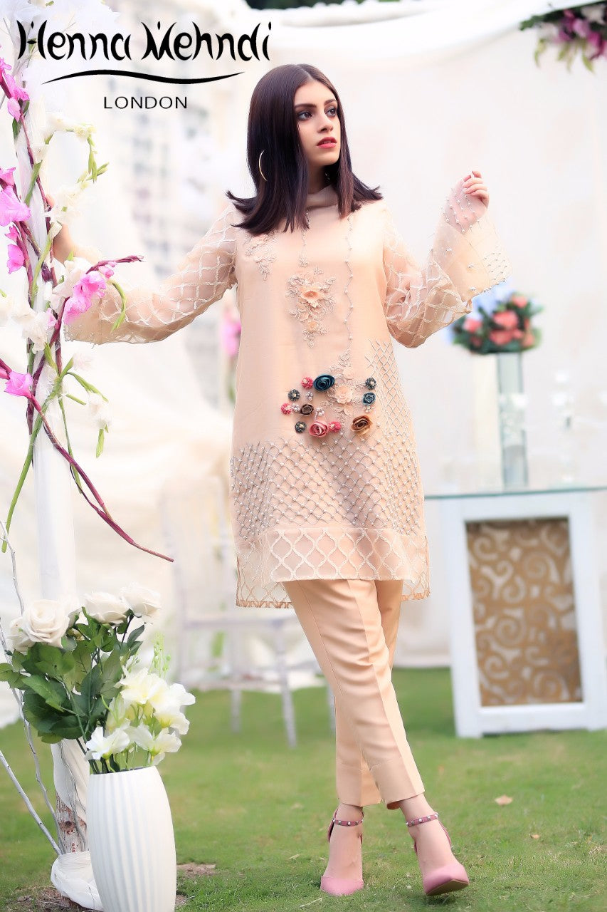 Peach 3D Flower Embroidered & Accessorised Outfit