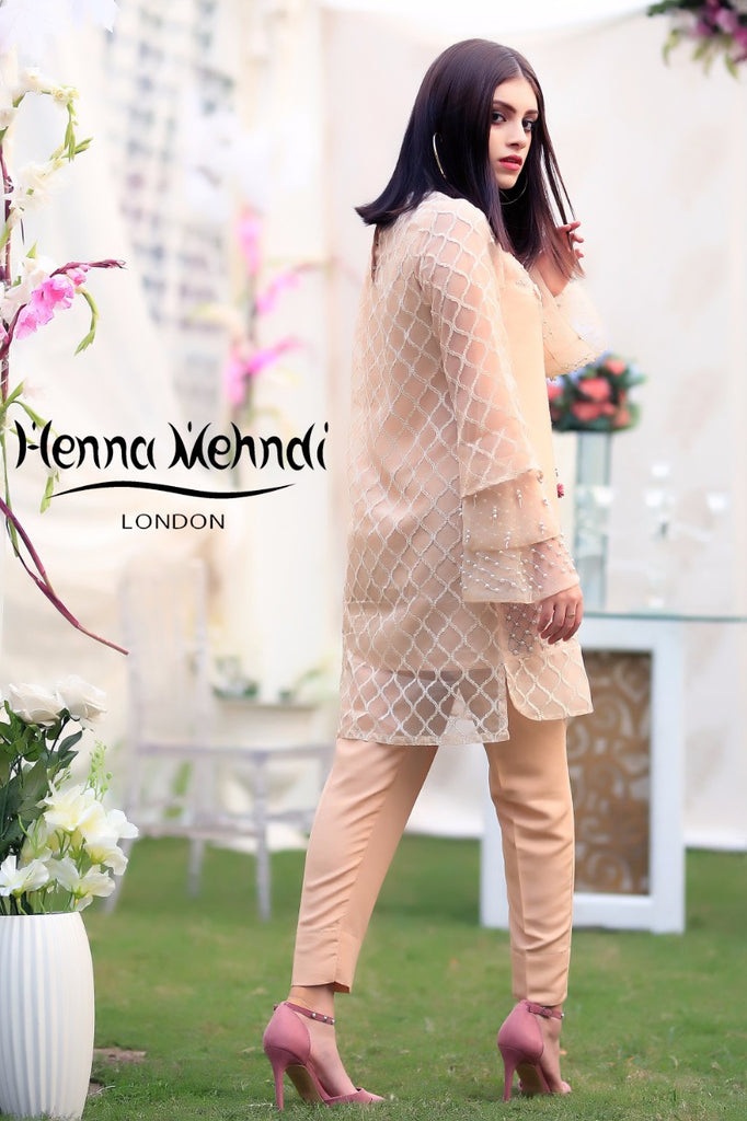 Peach 3D Flower Embroidered & Accessorised Outfit - Henna Mehndi