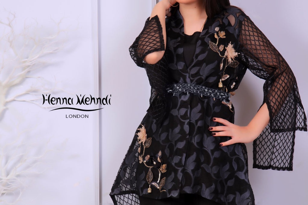 Black Metal Accessories Embroidered Jacket - Henna Mehndi