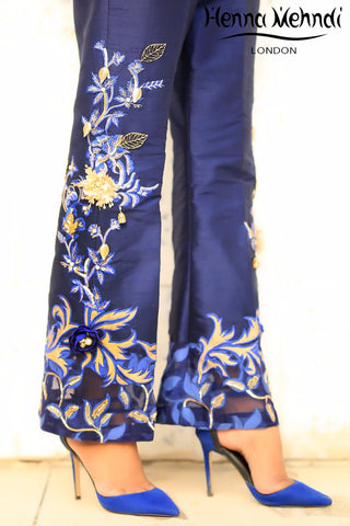 Blue Metal Accessories Embroidered Trousers