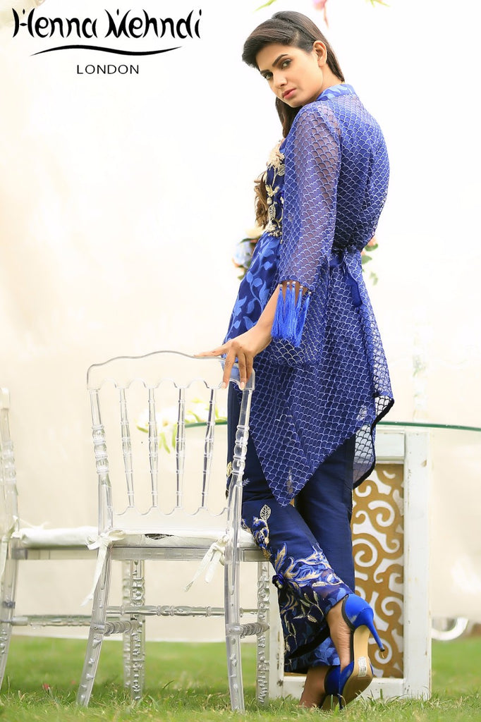 Blue Metal Accessories Embroidered Jacket & Embroidered Trouser Outfit - Henna Mehndi