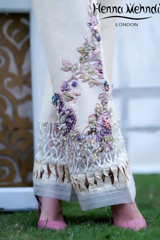 Ivory And Purple Pearl & Accessories Embroidered Trousers