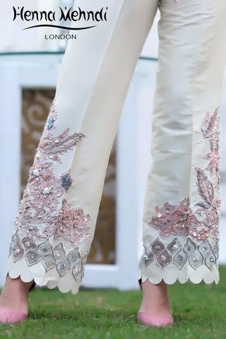 Ivory And Pink Pearl & Accessories Embroidered Trousers
