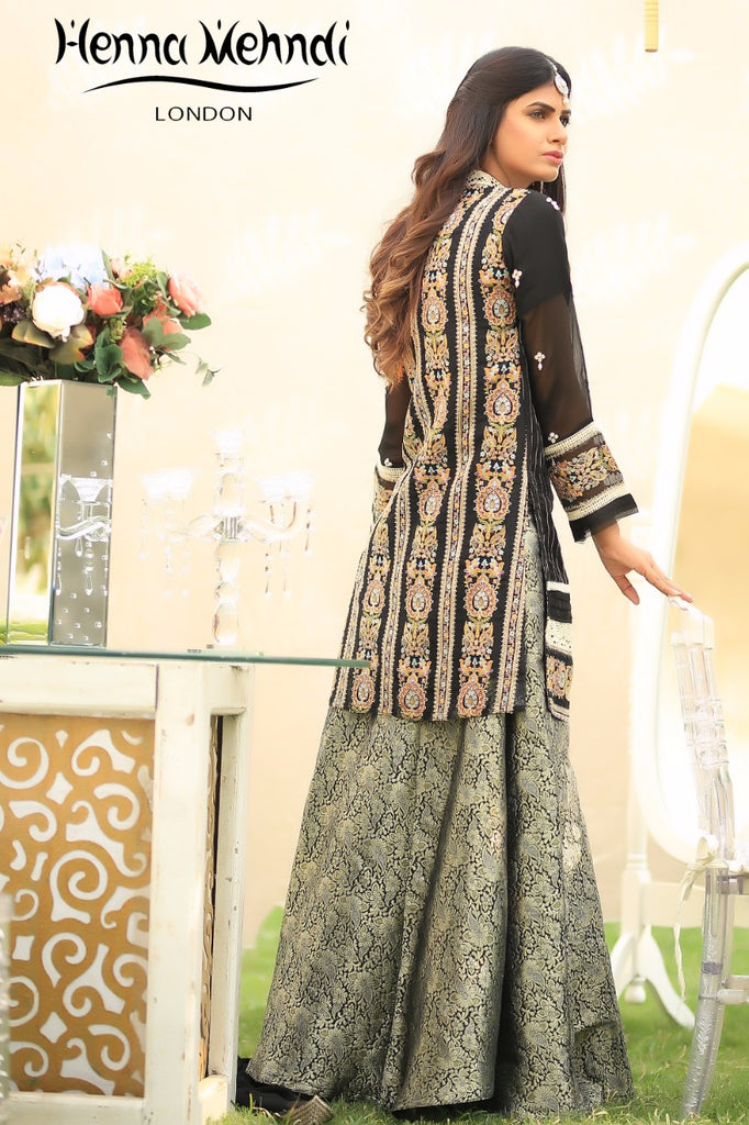 Black Pearl & Diamante Embroidered Outfit - Henna Mehndi