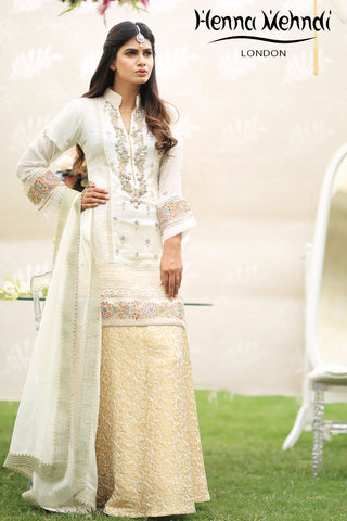 Cream Pearl & Diamante Embroidered Outfit