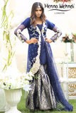 Navy Diamante Embroidered Jacket Outfit - Henna Mehndi