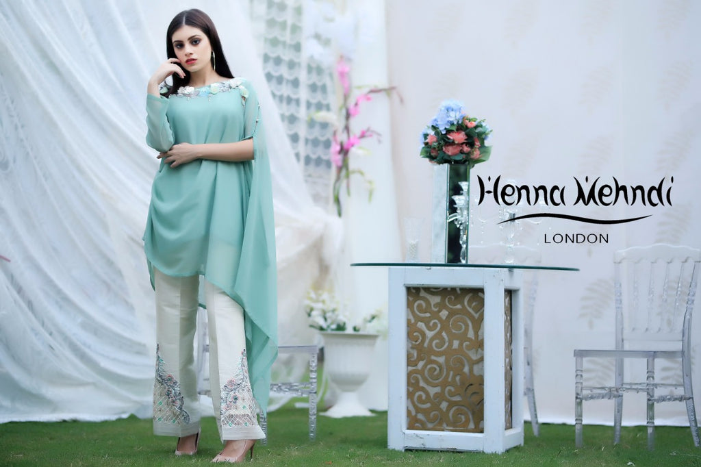Green Sequinned Embroidered Top & Embroidered Trouser Outfit