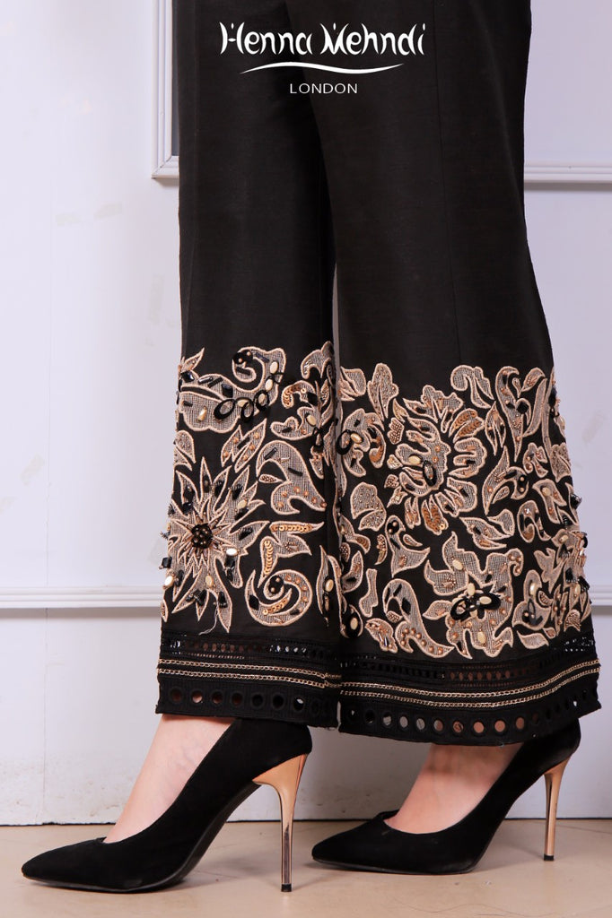 Black Embroidered Trousers
