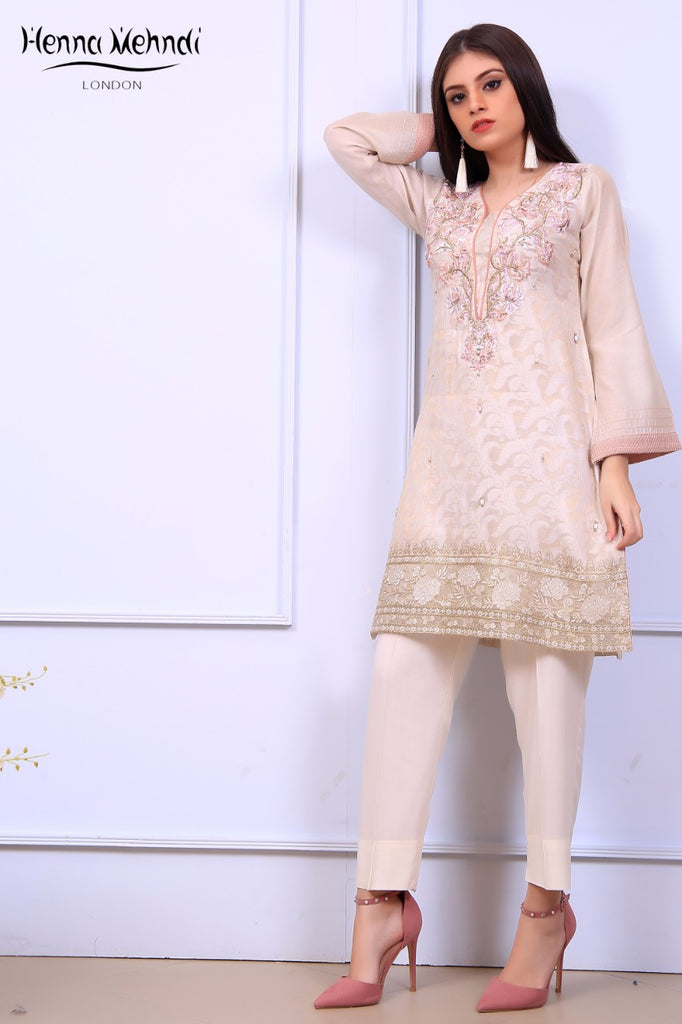 Cream Diamante Embroidered Tunic - Henna Mehndi