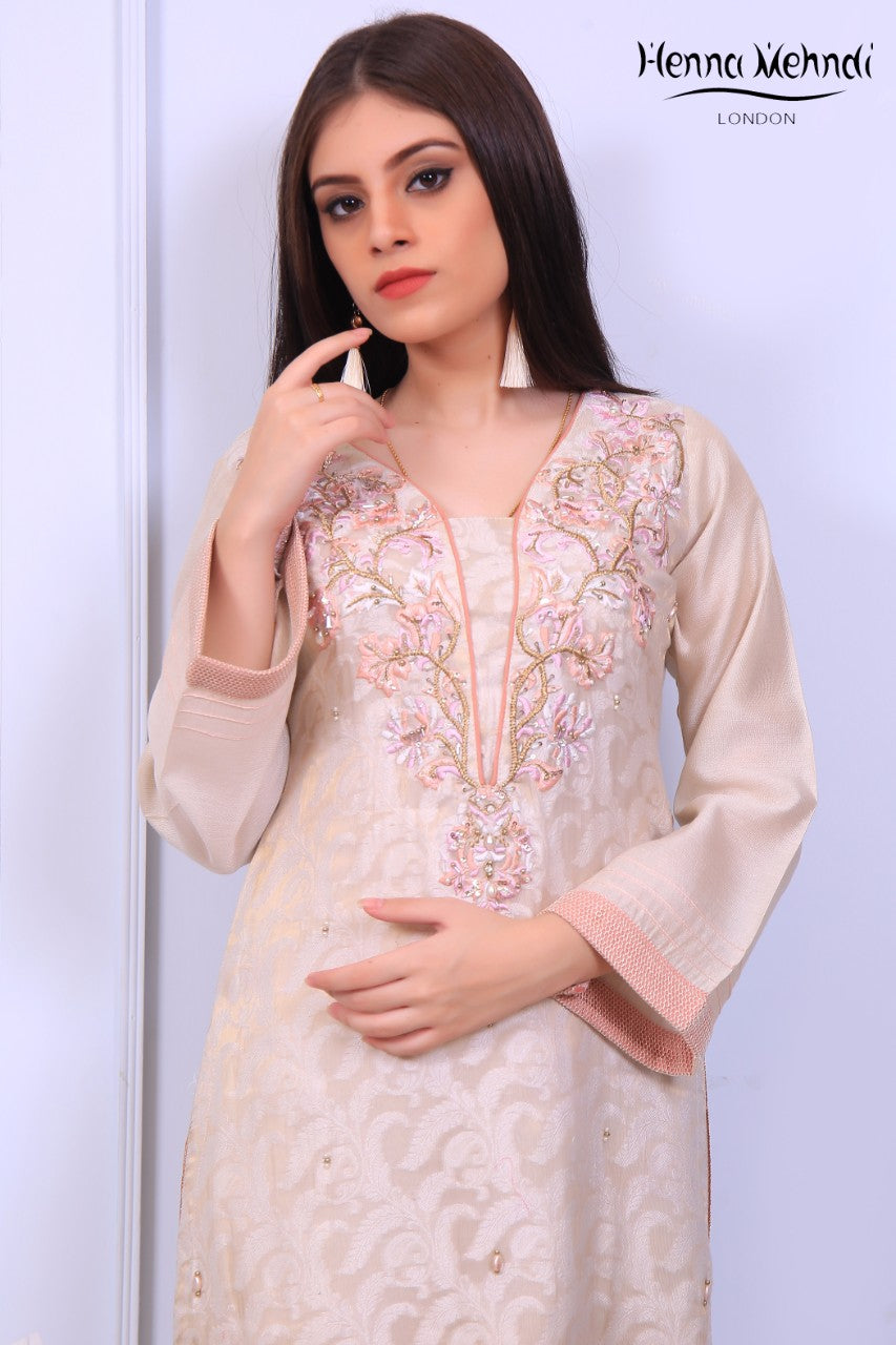 Cream Diamante Embroidered Tunic