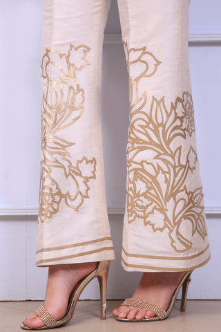 Ivory Laser Cut Trousers