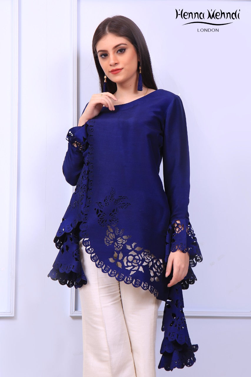 Navy Ruffle Sleeves Laser Cut Top
