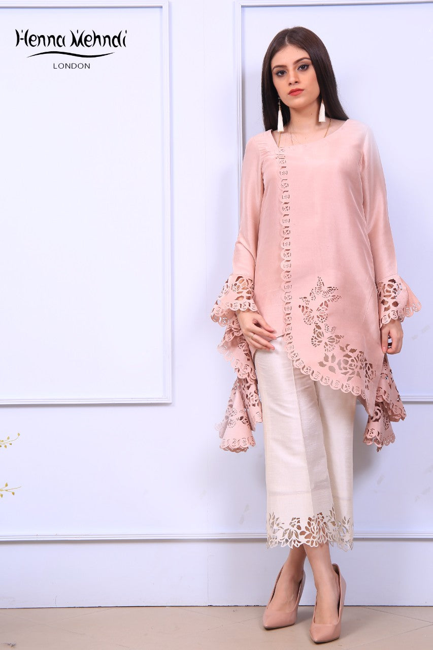Tea Pink Ruffle Sleeves Laser Cut Outfit