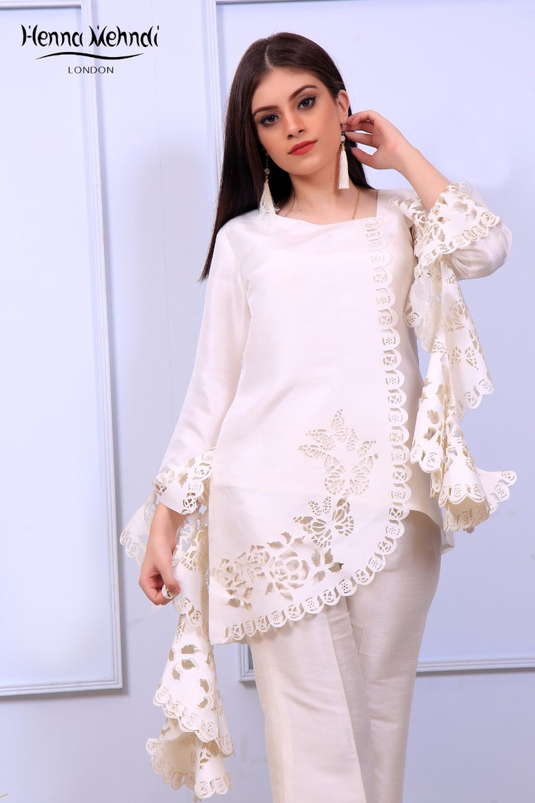 White Ruffle Sleeves Laser Cut Outfit