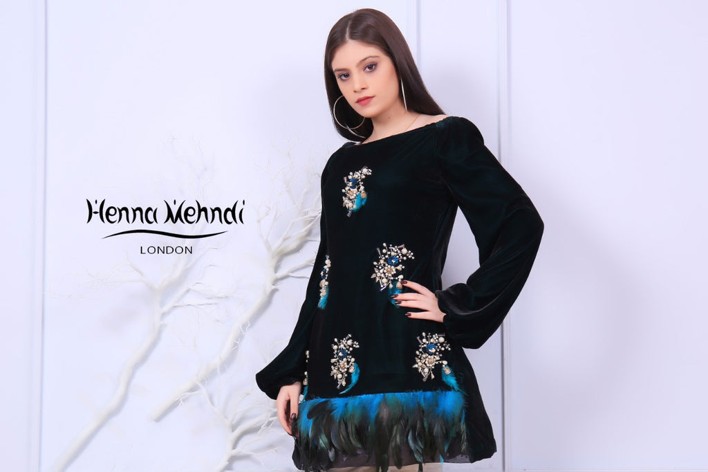Velvet Pearl & Diamante Embroidered Outfit - Henna Mehndi