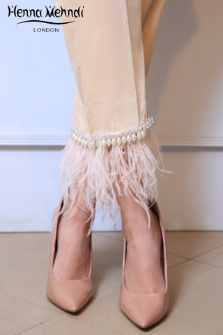 Beige Velvet Feather Embellished Trousers