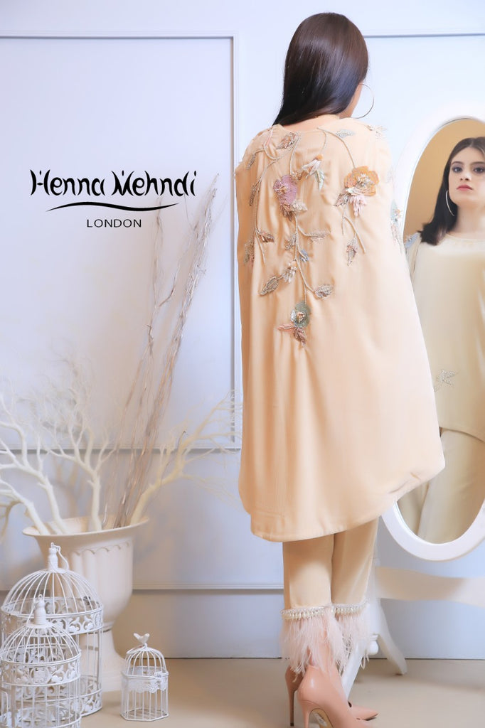 Beige Velvet Embroidered Cape Outfit - Henna Mehndi