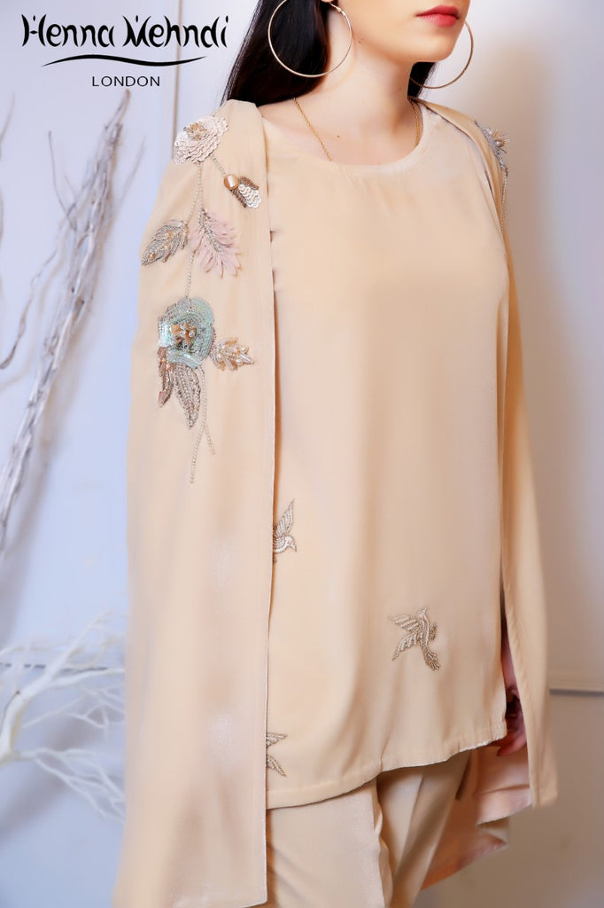 Beige Velvet Embroidered Cape Outfit
