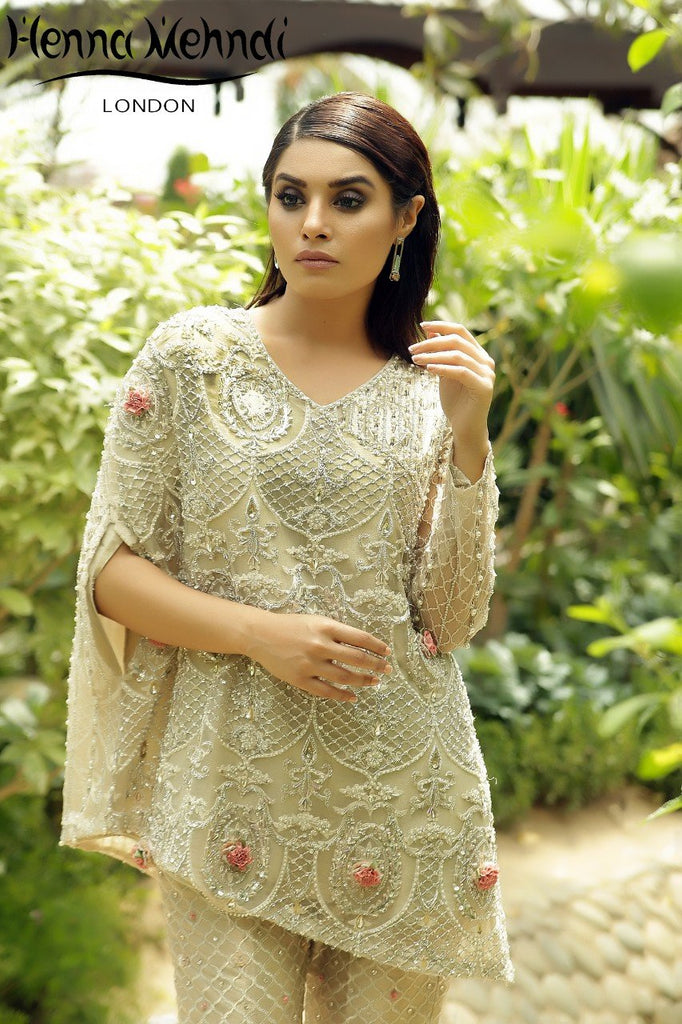 Ivory Diamante & Crystal Embroidered Semi Cape