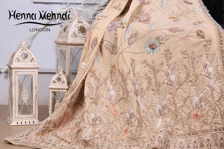 Beige Velvet Embroidered Shawl