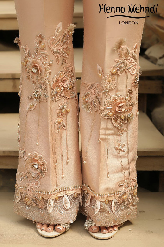Peach 3D Embroidered &Embellished Trousers - Henna Mehndi