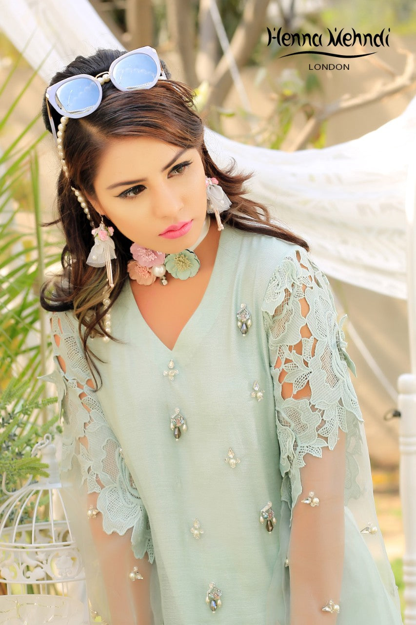 Mint Embroidered Top