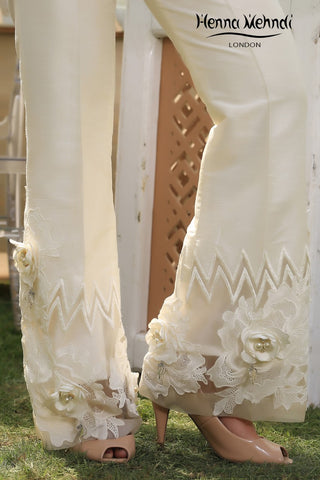 Ivory 3D Crochet Lace Trousers