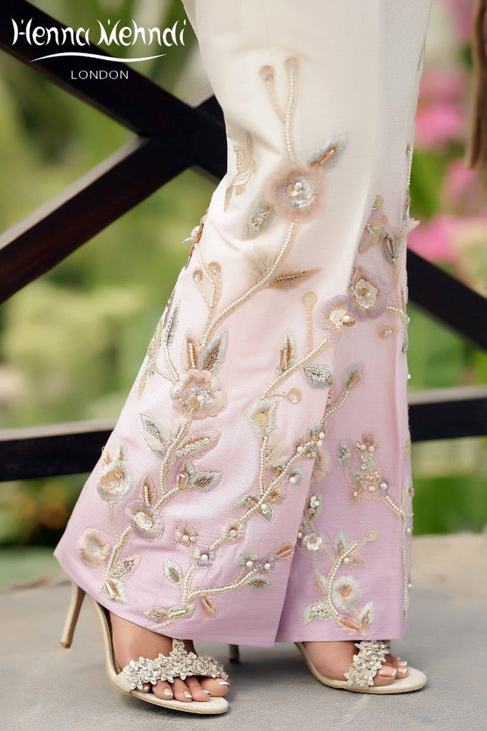 Lilac Pearl & Diamante Embroidered Trousers ID - Henna Mehndi