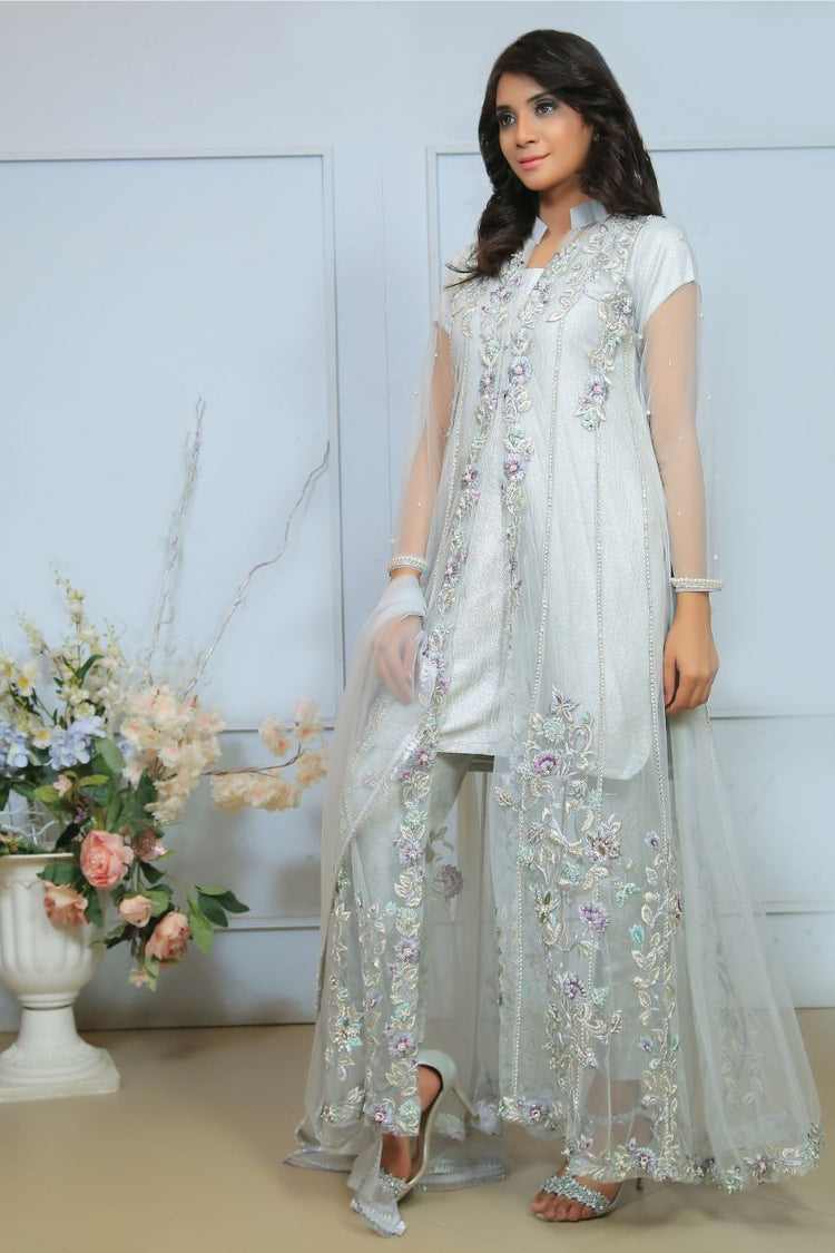 Grey Diamante Embroidered Gown Outfit