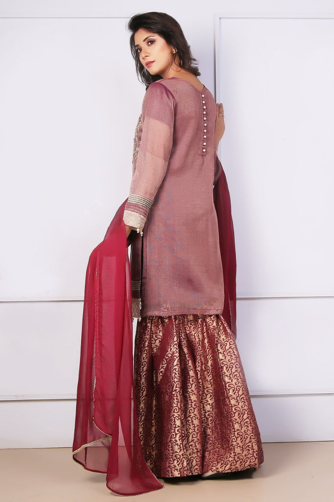 Plum Diamante Embroidered Outfit