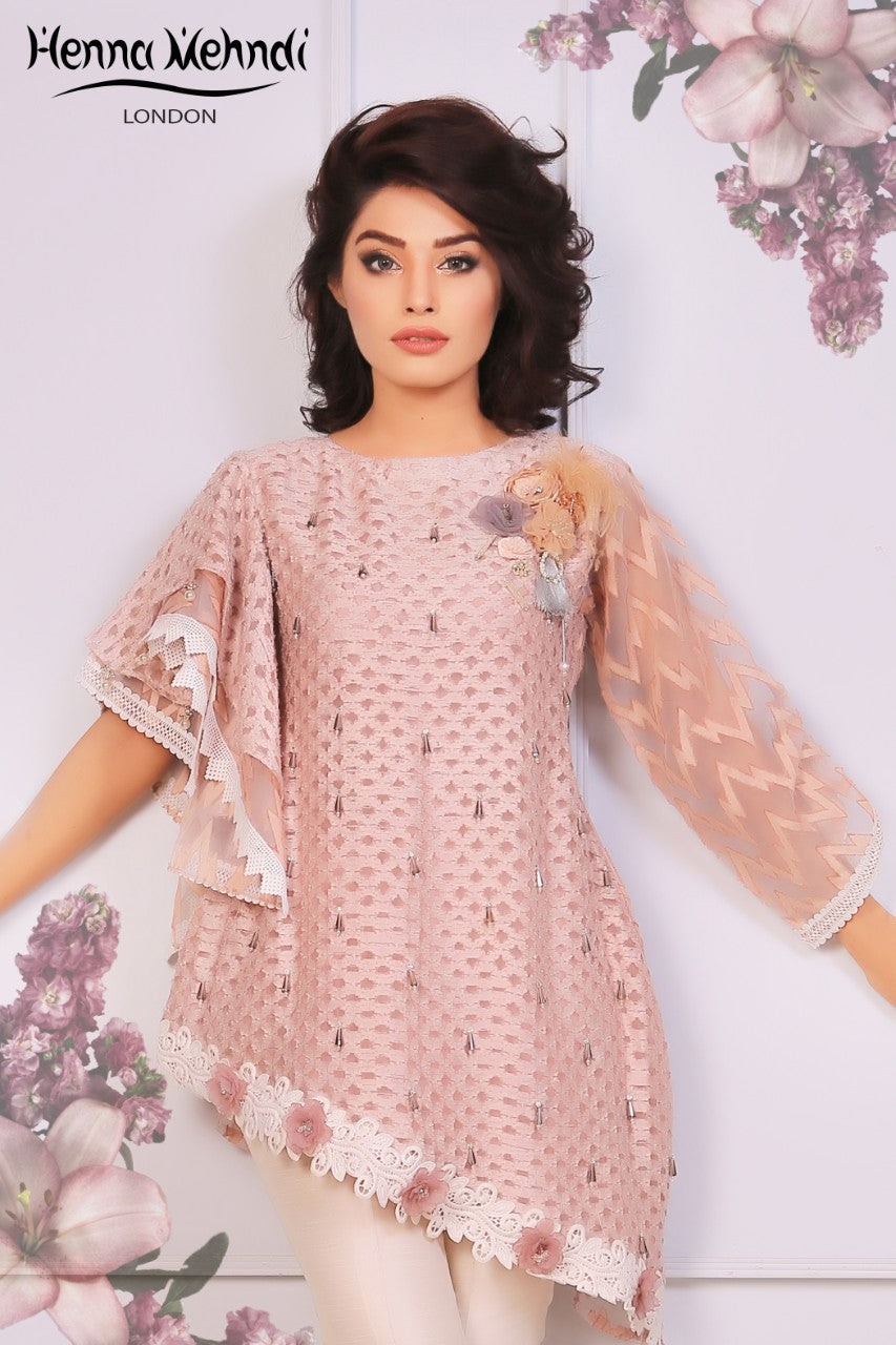 Tea Pink Crystal & 3D Embellished Top