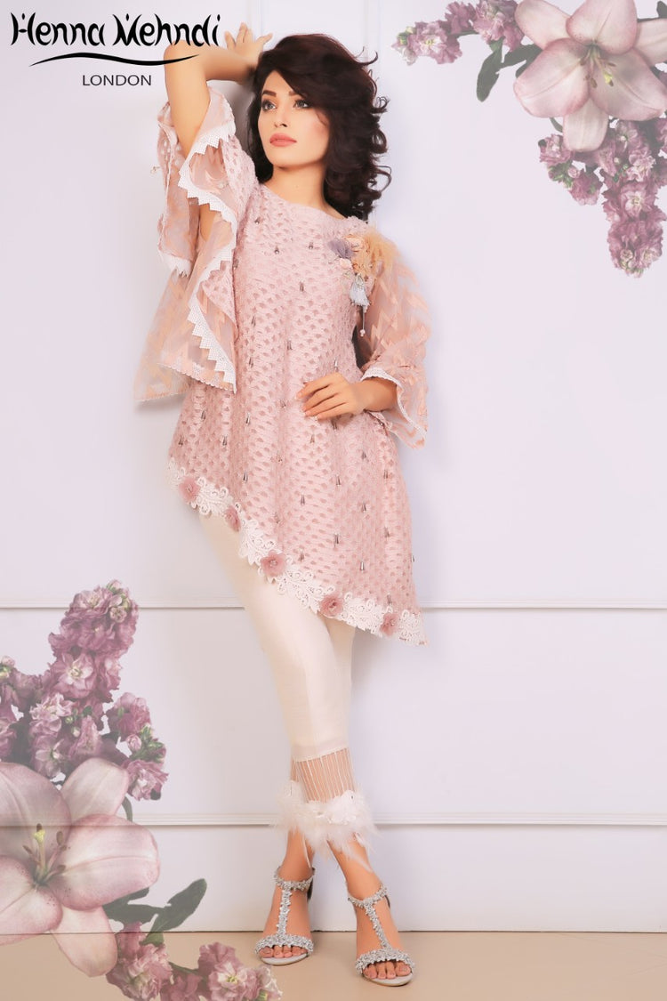 Tea Pink Crystal & 3D Embellished Outfit
