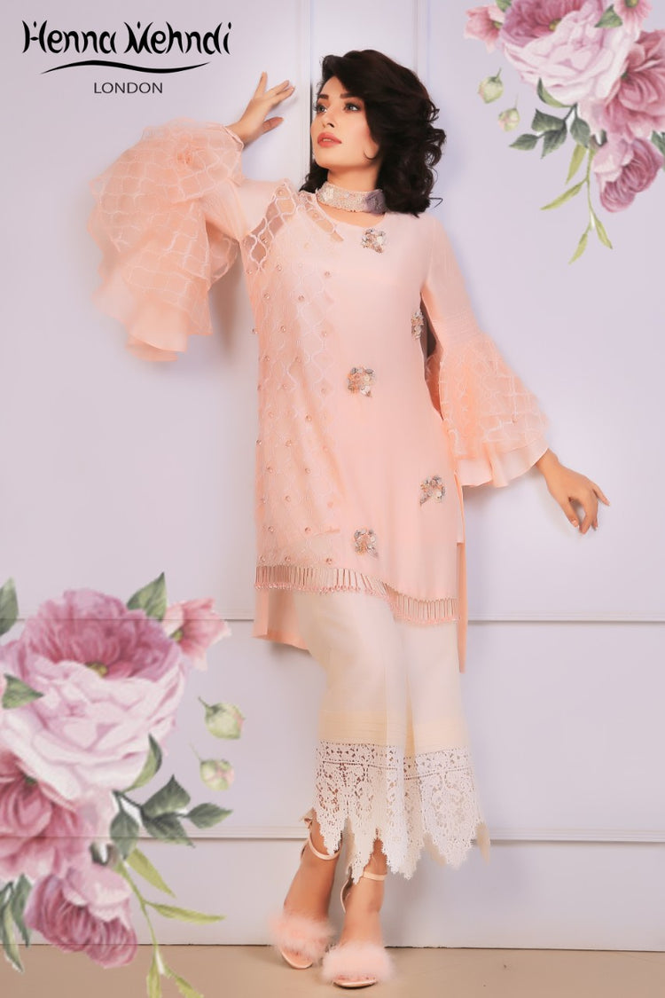 Pink Embroidered & 3D Embellished Outfit