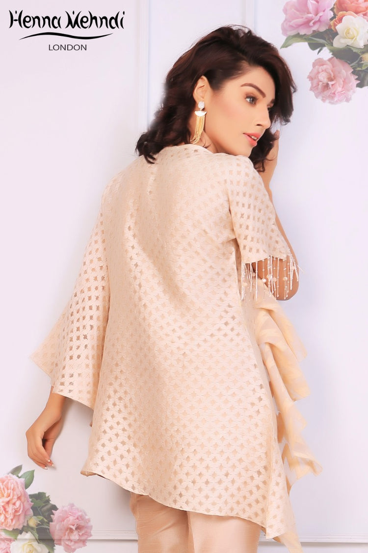 Peach Embroidered & 3D Embellished Ruffle Top